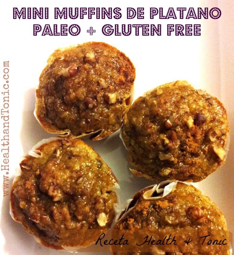 Mini Muffins de Plátano Paleo + Sin Glúten